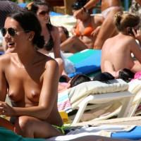 Candid Topless Girl On Beach - Brown Hair, Milf, Small Breasts, Topless, Beach Voyeur