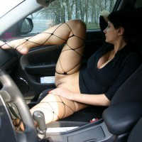 Wife Flashing Pussy In Codriver Seat - Dark Hair, Flashing, Landing Strip, Spread Legs, Stockings, Nude Wife , Car Nudity, Fishnet Stocks, Wife's Pussy In Car, Whalenet Stockings