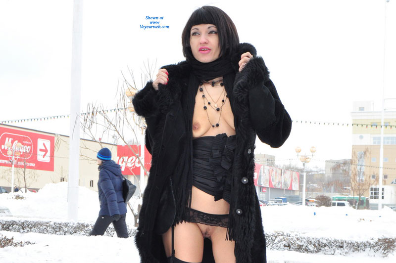 Public Flashing In Winter - Black Hair, Dark Hair, Exhibitionist, Flashing Tits, Flashing, Landing Strip, Small Tits, Topless , Shaved Beaver, Stockings Hold Ups, Snow Bunny, Black Coat, Short Black Hair, Ass, Black Thigh High Stockings, Topless Girl