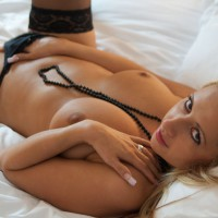Topless Chick On Bed Hand In Panty - Stockings, Topless