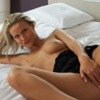 Blond Chick On Bed Legs Spread Covering Pussy - Blonde Hair, Long Hair, Long Legs, Spread Legs, Topless, Looking At The Camera