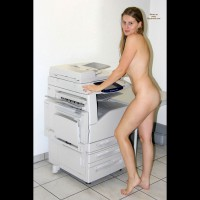 Nude Girl At Copier Machine - Long Hair, Naked Girl