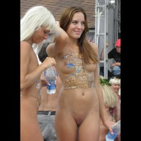 Human Canvas - Brown Hair, Long Hair, Shaved Pussy, Small Breasts, Small Tits, Bald Pussy