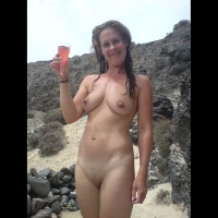 Nude Wife On Beach With Champage - Brown Hair, Shaved Pussy, Nude Wife