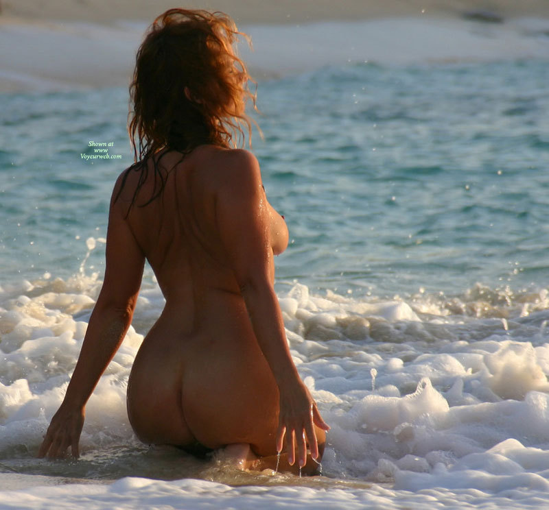 Pic #1 - Kneeling In The Surf - Round Ass, Naked Girl, Nude Amateur , One Boob Showing, Kneeling In The Sea, On Knees, Arched Back, Nude Backside, Nude At Beach, Waves Playing Naked, In The Surf, Arms Held Back