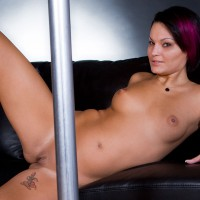 Nude Girl Lying Back Nude Behind Pole