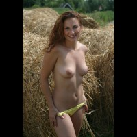 Topless Chick Removing Her Panty Outdoor - Erect Nipples, Red Hair, Topless , Braless Outside, Medium Breast, Long Red Curly Hair, Removing Panties, Smiling, Slim Body, Thin Body, By Hay In Field, Medium Build