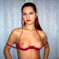 Strands Of Hair Framing Tits - Brown Hair, Firm Tits, Long Hair, Red Hair, Small Tits, Topless, Looking At The Camera
