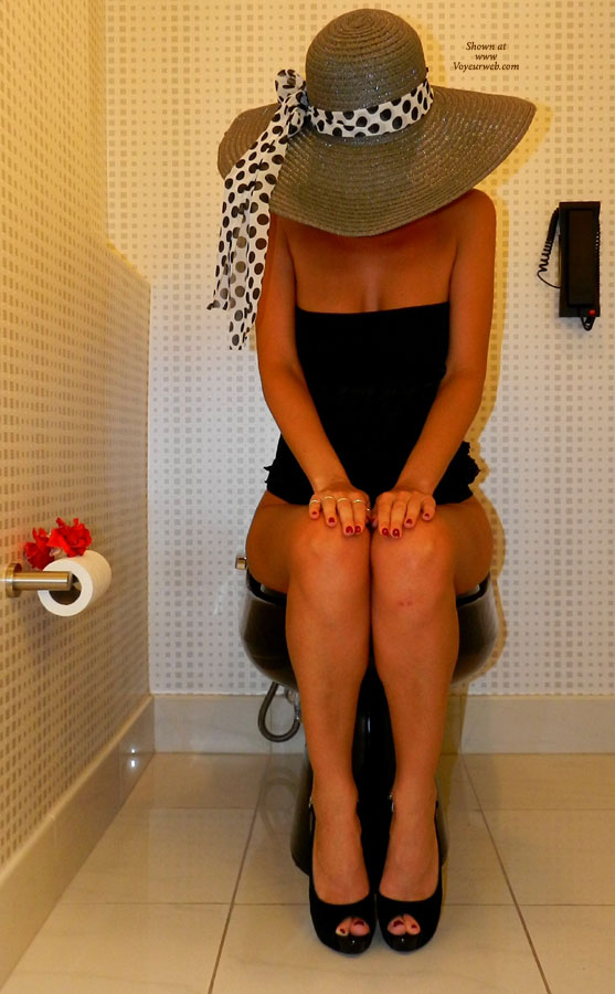 Pic #1 - Pantieless Wife On Toilet , Pantieless Wife, Skinny Body, Painted Finger Nails