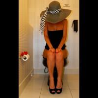 Pantieless Wife On Toilet