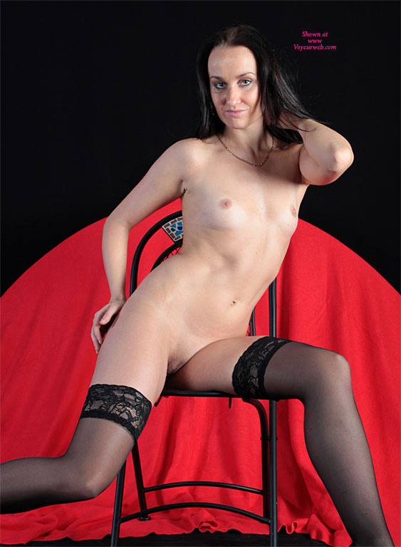Pic #1 - Frontal Nude Seated On Chair - Black Hair, Dark Hair, Long Hair, Natural Tits, Shaved Pussy, Small Breasts, Small Tits, Stockings, Tan Lines, Bald Pussy, Hairless Pussy, Looking At The Camera, Nude Amateur, Sexy Lingerie , Very Small Breasts, Small Tits Tight Pussy, Nude Friend, Black Hose, Red Background, Thigh Highs, Black Long Hair, Black Stayups