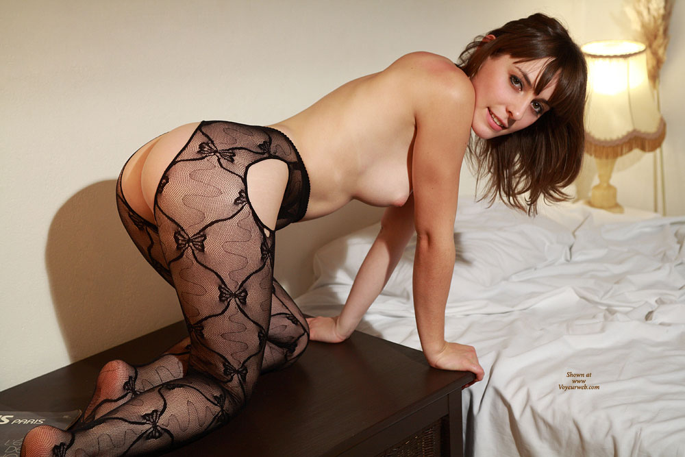 Sexy French Chick Down On All Fours - Brunette Hair, Doggy Style, Topless, Looking At The Camera, Sexy Woman , Kneeling On End Table, Ass/tit Profile On End Table, Bedroom Shot, Puffed Nipples, Firm Round Ass, Nice Smile, Topless Girl, Crotchless Black Pantyhose