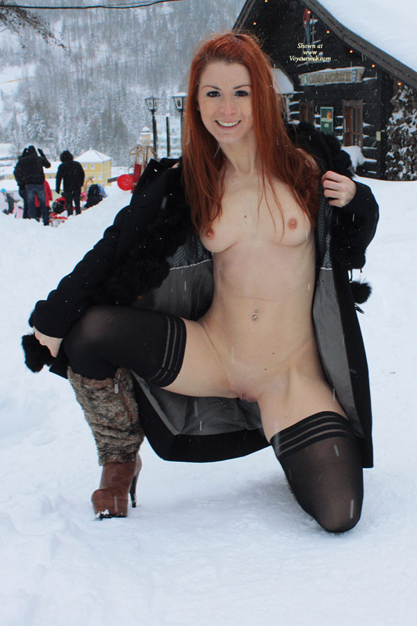 Pic #1 - Flashing In Snow - Exhibitionist, Flashing, Nude In Public, Stockings, Topless, Bald Pussy, Hairless Pussy , Medium Breasts And Shaved, Smiling, Thigh Highs, Bald Pussy Showing, Fire And Ice, Topless And Bottomless In Snow, Open Coat, Erect Cold Nipples, Open Jacket, Topless Girl