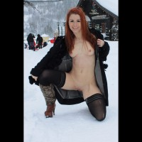 Flashing In Snow - Exhibitionist, Flashing, Nude In Public, Stockings, Topless, Bald Pussy, Hairless Pussy , Medium Breasts And Shaved, Smiling, Thigh Highs, Bald Pussy Showing, Fire And Ice, Topless And Bottomless In Snow, Open Coat, Erect Cold Nipples, Open Jacket, Topless Girl