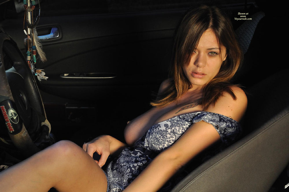 Pic #1 - Hot Chick Flashing Tits In Car - Brunette Hair, Flashing Tits, Flashing, Long Hair, Spread Legs, Sexy Face, Sexy Woman , Tatoo On Left Shoulder, Long Brunette Hair, Green Eyes, Legs Spread Wide, Pierced Nipple, Flashing In Her Car, Brunette Hair, Amateur Dressed Sexy