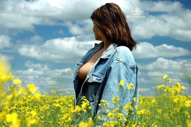 Pic #1 - Open Denim Jacket - Big Tits , Open Denim Jacket, Levi Jacket, Big Tits, Tit Exposed In Field Of Flowers