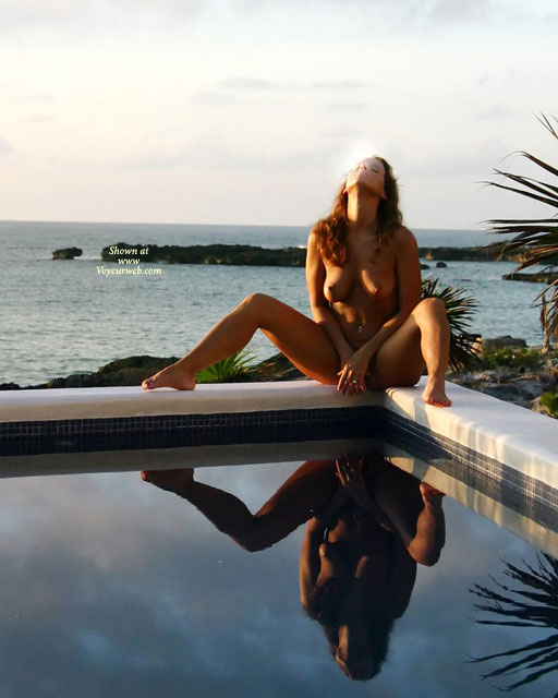 Pic #1 - Covered Spread - Spread Legs , Covered Spread, Nude Reflections, Beauty At Pool And Sea, Double Image, Sunning By The Pool, Nude By Water, Spreading Legs