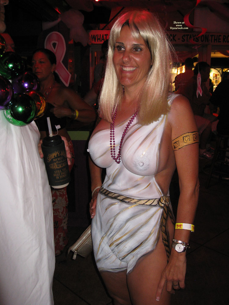 Pic #1 - Huge Heavy Tits - Huge Tits, Shaved Pussy , Body Paint, Fake Hair, Gorgeous Full Boobies, Painted Lady, Standing, Event Voyeur, Big Areolas, Pointy Nipples