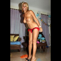 Topless Leaning Forward - Big Tits, Blonde Hair, Heels, Large Breasts, Topless
