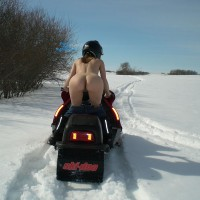 Snowmobile Babe Showin Ass