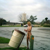 Standing Naked On Street - Blonde Hair, Small Tits, Naked Girl