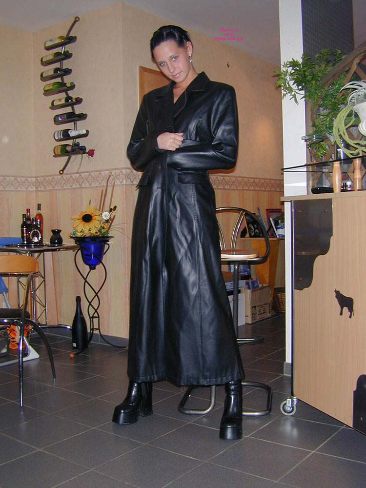 Pic #1 - Tiny Minka In Black Leather , Hot Little Minka Nude Under A Long Leather Jacket