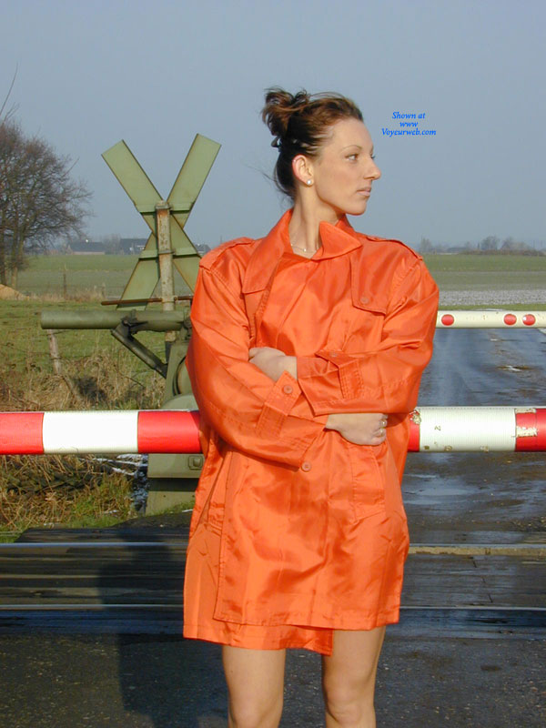 Pic #1 - Jessi Flashing Outdoors , Jessi Wearing Just Lingerie Under Her Coat And Flashs Off Her Body Outdoors