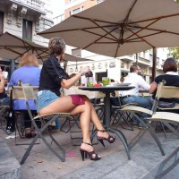 Pantieless Woman In Street Cafe - Exhibitionist, Heels, Long Legs, Sexy Legs