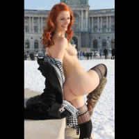 Vienna In Snow - Exhibitionist, Flashing Ass, Flashing Tits, Flashing, Nude In Public, Red Hair, Small Tits, Topless, Naked Girl