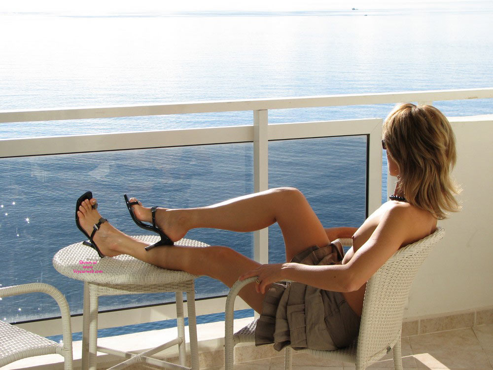 Pic #1 - The Balcony , Wide Open Legs On The Balcony : The Sun Keeps My Pussy Warm And Wet...