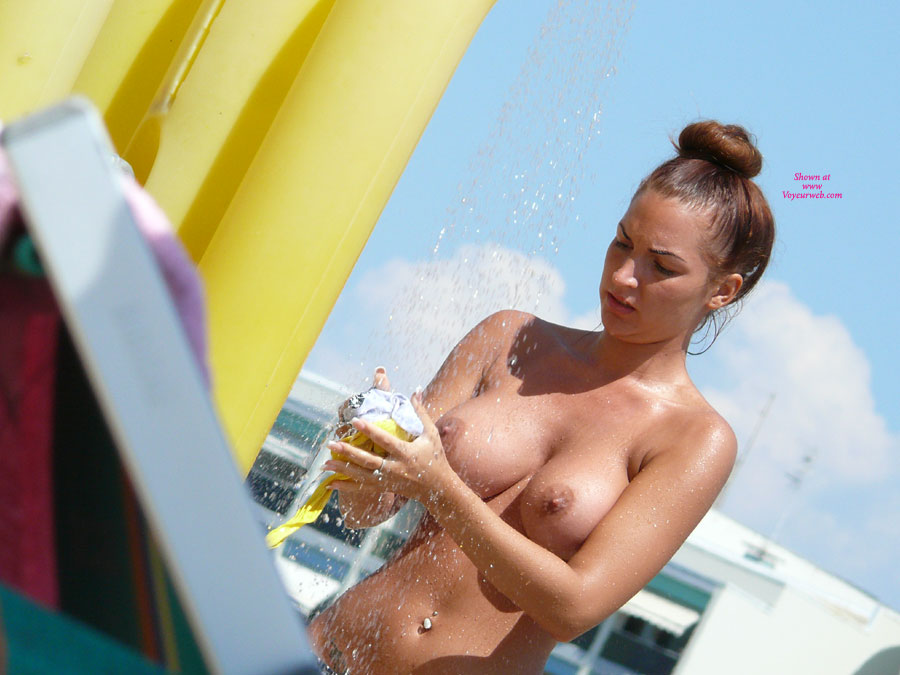 Pic #1 - Nude Girl Showering Her Bikini - Brunette Hair, Hard Nipple, Perfect Tits, Topless, Beach Voyeur, Naked Girl , Topless Girl Squeezing Bathing Suit, Washing The Salt Out, Wet Skin