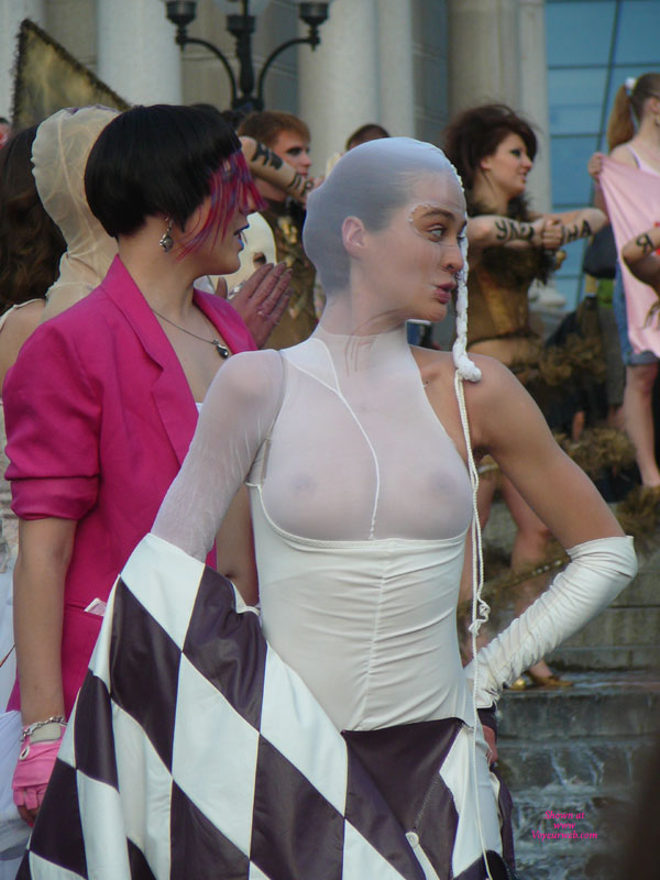 Pic #1 - Pantyhose Over Head , See Thru Shirt, White Tits, Protest Look, Hand On Hip, Checkered Flag, Event Voyeur, White Body Stocking, Pantyhose Worn Over Upper Ody, See Through