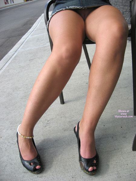 Pic #1 - Upskirt - Sandals, Upskirt , Upskirt, Pussy Looking Out, Public Nude, Long Legs Up With A Surprise, Pantieless, Short Denim Miniskirt, Black Peeptoe Sandals