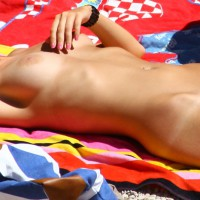 Beach Babe - Blonde Hair, Milf, Nude Beach, Perfect Tits, Shaved Pussy, Tan Lines, Bald Pussy, Beach Voyeur, Naked Girl