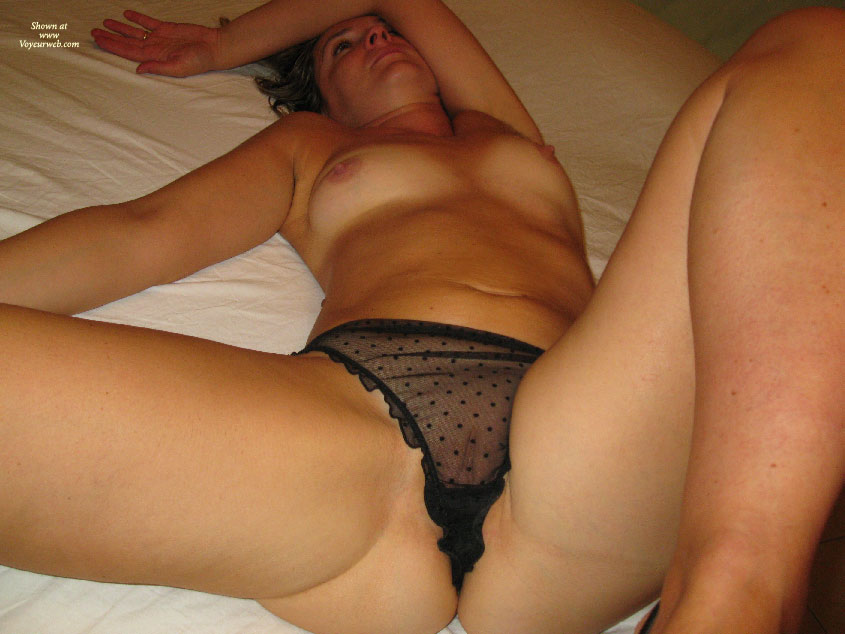 Pic #1 - Black Seethrough Slip - Topless , Lying On Bed, Layed Out On Bed, Beautiful Cunny, Pits Tits And Clit, Spreaded Legs, Topless Amateur, See Thru Crotch, Boldly Topless Lady, Black Polka Dots