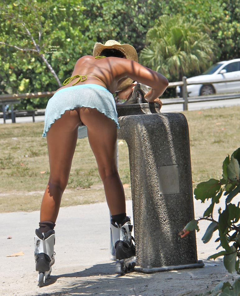 Pic #1 - Pantyless Upskirt Of Rollerblading Girl - Milf, Shaved Pussy, Upskirt, Pussy From Behind , Chiffon Mini Skirt/ No Panties, Upskirt On Rollerblades, Light Blue Raised Micro Skirt, Straw Cowboy Style Hat, Blade Babe, Firm Milf Ass, Street Voyeur, Leaning Over, Rollerblades