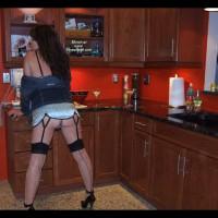 Brunette In Kitchen Wearing Black Seamed Stockings - Brunette Hair, Heels, Stockings, Naked Girl, Nude Amateur
