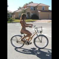 Topless Bicycle - Brown Hair, Long Hair, Topless, Naked Girl, Nude Amateur