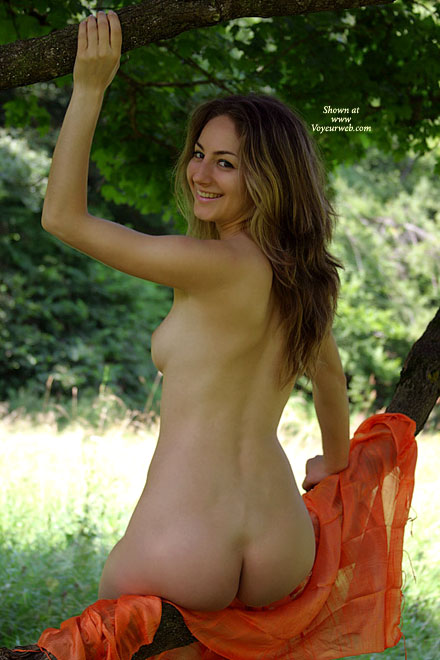 Over Shoulder Shot Cute Naked Outdoor Natural Beauty Nude Outdoors