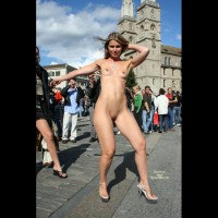 Shoulder Length Blonde - Heels, Nude In Public, Shaved Pussy