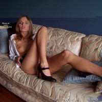 Sexy Legs - Blonde Hair, Heels, Long Legs, On The Couch
