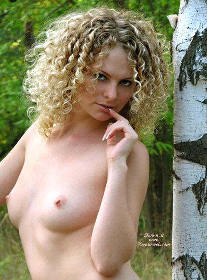 Pic #1 - Green Eyes - Green Eyes, In The Woods, Tiny Nipples, White Skin , Green Eyes, Tiny Nipples, In The Woods, Blond Curls, Milk White Skin, Piercing Eyes, Finger To Lips