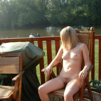 Naked By Lake - Blonde Hair, Nude Outdoors, Naked Girl