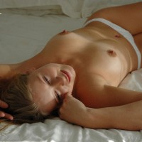 On Bed Nude Lying Down White Panties Topless Hard Nipples