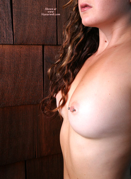 Pic #1 - Pierced Nipples With Barbells - Brunette Hair, Pierced Nipples , Smallish Breasts, Very Attractive, Short Nipples, Self Shot, Long,curly Brunette, Tiny Tits