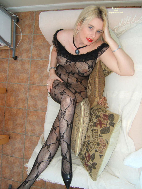 Pic #1 - See Through Body Suit - On Sofa, Red Lips , See Through Body Suit, See Through Outfit, Shot From Above, Red Lips, Top Shot On Sofa, Girl On Couch