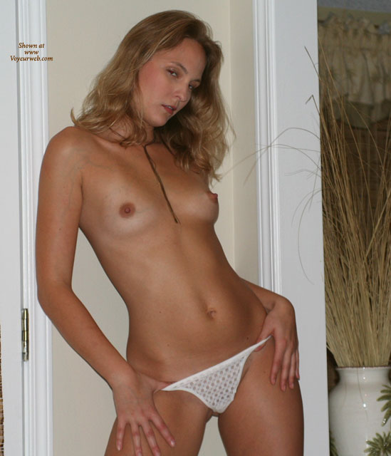 Pic #1 - Topless With Hands On Hips - Perky Tits, Sexy Panties , Topless With Hands On Hips, White Panties, Petite Breasts, Full Shot, White Lace Paties, Thumbs In Panties, White Tong, Perky Boobs, Topless Young Blonde