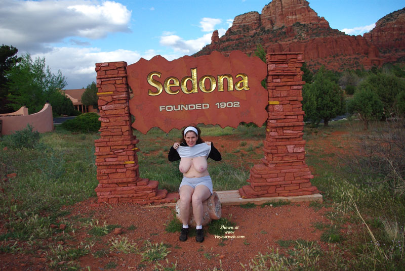 Sedona was such a beautiful place. I had to prove I was there and of course had to flash. I have a set of pics in the mountains that are really nice. To be posted later.