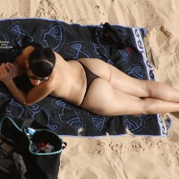 Beach Voyeur: Black Lace G-Strings On The Beach - Beach Voyeur