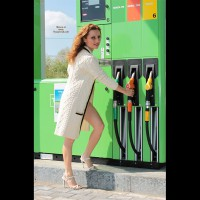 Nude Friend on heels: At The Gas Petrol